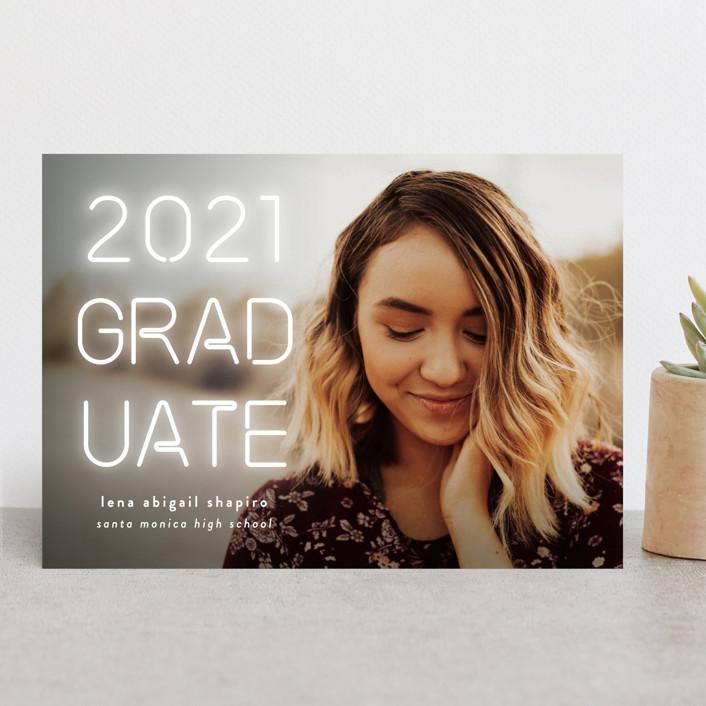 """Neon Future"" - Modern Graduation Announcements in Bubblegum by Simona Camp."
