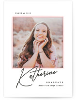 This is a pink graduation announcement invitation by Creo Study called Pretty intro with standard printing on smooth signature in standard.