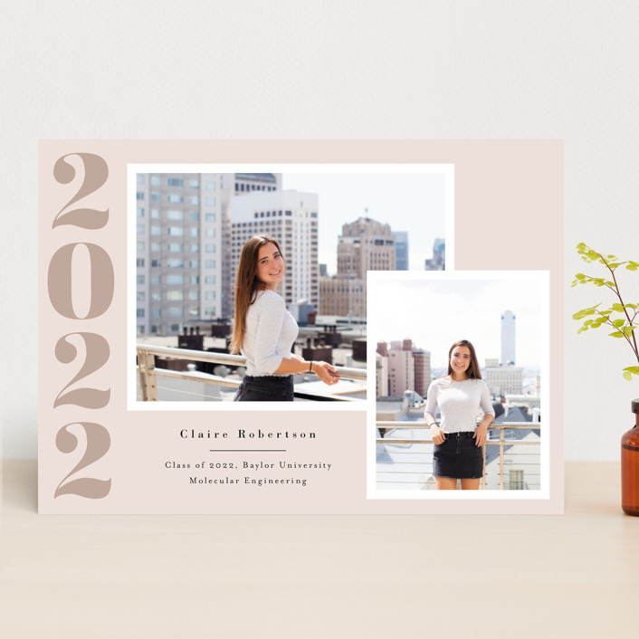 """Your Year"" - Graduation Announcements in Blush by Annie Shapiro."