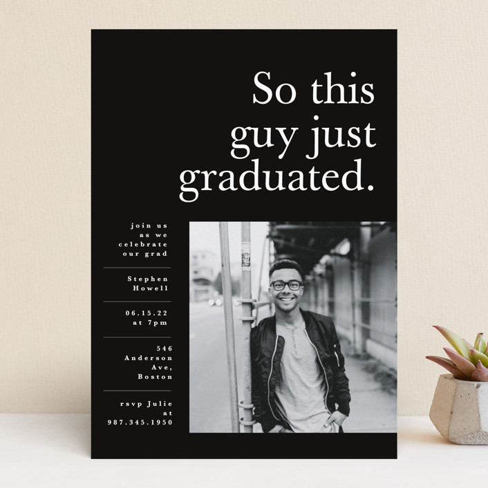 """This Guy"" - Funny, Modern Graduation Announcements in Jett by Corinne Malesic."