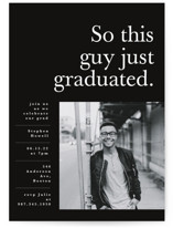 This is a black graduation announcement invitation by Corinne Malesic called This Guy with standard printing on smooth signature in standard.