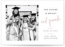 This is a pink graduation announcement invitation by Pixel and Hank called And Female with standard printing on smooth signature in standard.
