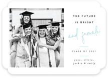 This is a blue graduation announcement invitation by Pixel and Hank called And Female with standard printing on smooth signature in standard.