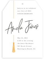 This is a yellow graduation announcement invitation by Owl and Toad called Written Out with standard printing on signature in standard.