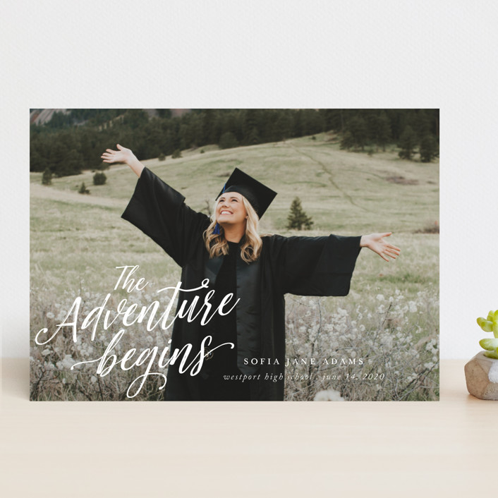 """""""The Adventure Awaits"""" - Modern Graduation Announcements in Cloud by That Girl Press."""