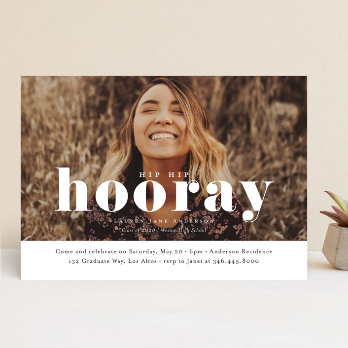 """Hooray"" - Modern, Funny Graduation Announcements in Cloud by Kasia Labocki."