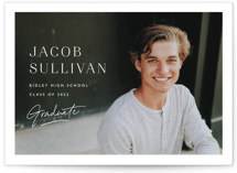 This is a white graduation announcement invitation by Carolyn MacLaren called Album Cover with standard printing on smooth signature in standard.