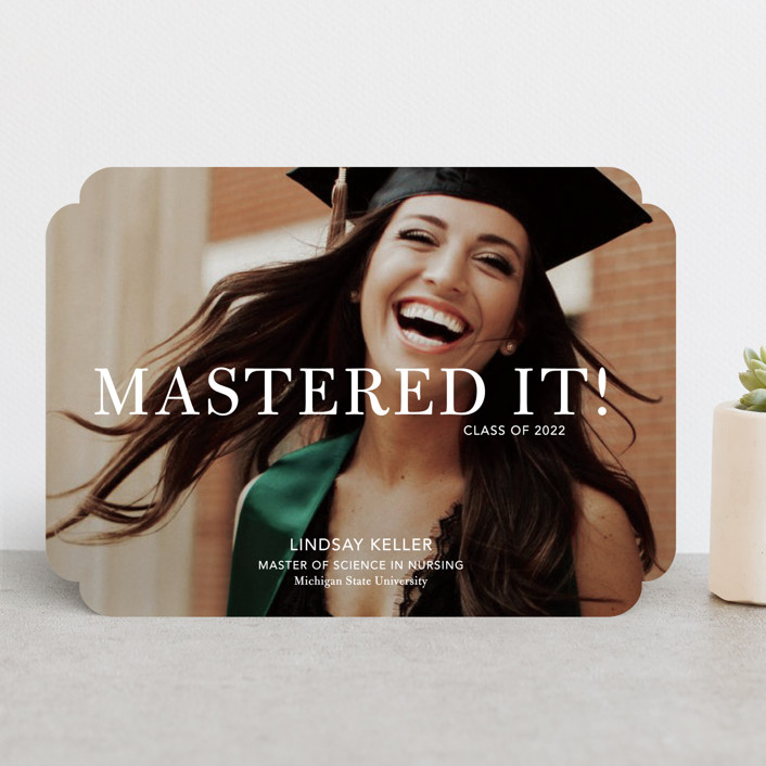 """""""Mastered It"""" - Funny Graduation Announcements in Snow by Stacie Stankos."""