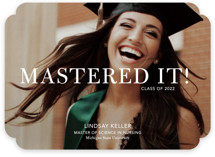This is a white graduation announcement invitation by Stacie Stankos called Mastered It with standard printing on smooth signature in standard.