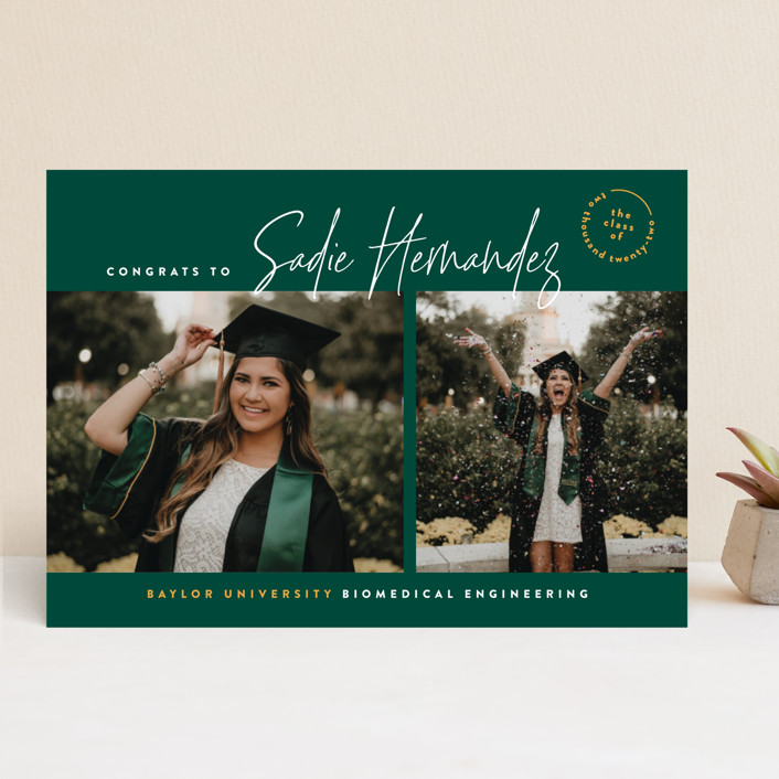 """""""The School Colors"""" - Preppy Graduation Announcements in Emerald by Owl and Toad."""