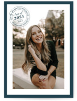This is a blue graduation announcement invitation by Sarah Finkel called collegiate stamp with standard printing on smooth signature in standard.