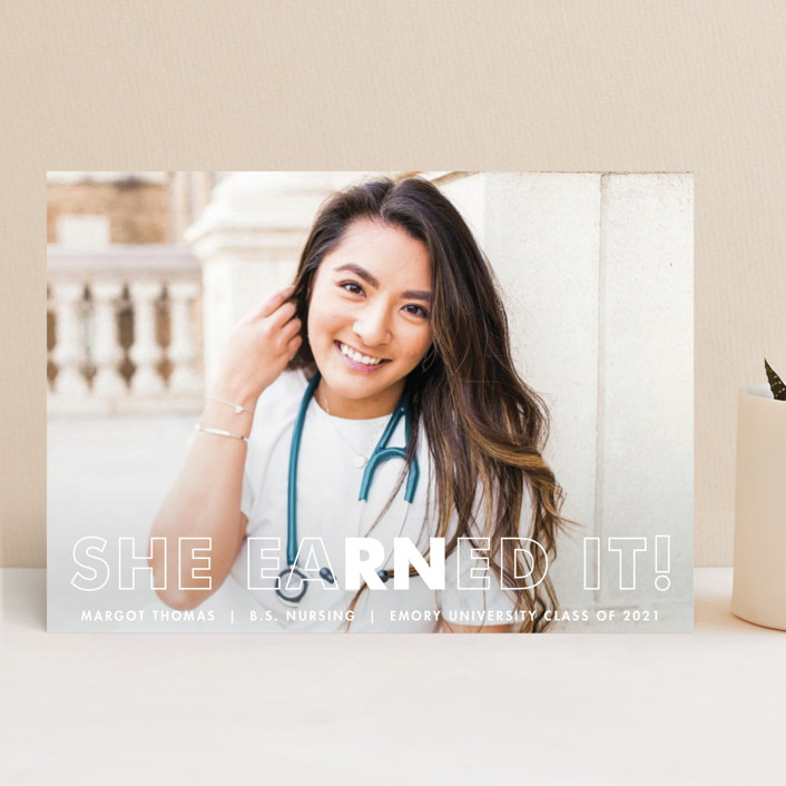 """Earned It"" - Funny Graduation Announcements in Snow by Ekko Studio."