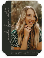 This is a green graduation announcement invitation by JoAnn Jinks called Aligned with standard printing on smooth signature in standard.