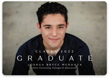 This is a white graduation announcement invitation by Lea Delaveris called Forward with standard printing on smooth signature in standard.