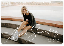 This is a white graduation announcement invitation by Rebecca Daublin called Signatory with standard printing on smooth signature in standard.
