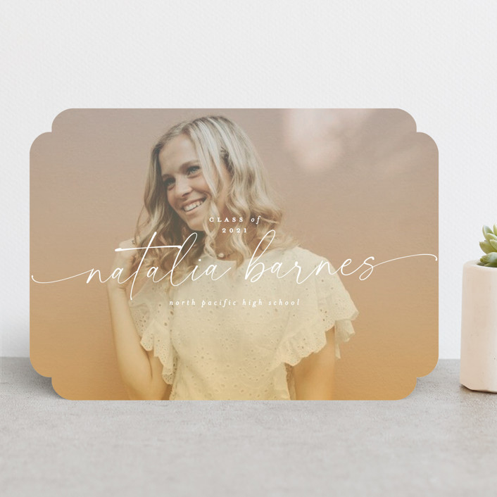 """Poetic"" - Modern Graduation Announcements in Sunset by Everett Paper Goods."