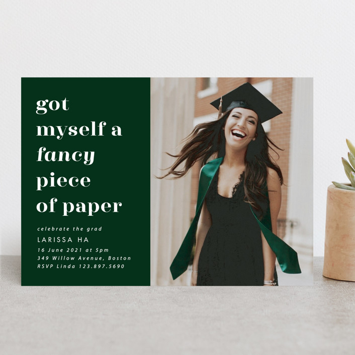 """Fancy"" - Funny, Preppy Graduation Announcements in Fir by Catherine Culvenor."