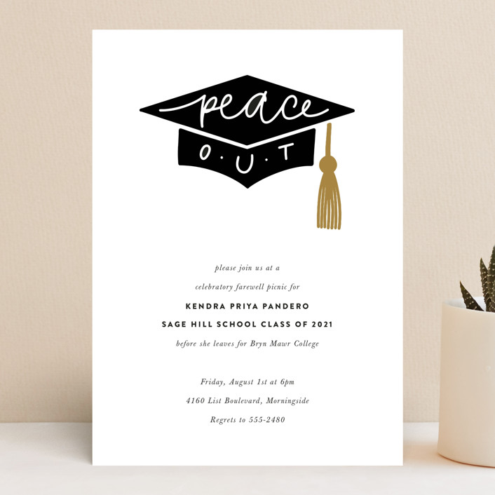 """""""peace out"""" - Funny, Whimsical & Funny Graduation Announcements in Champagne by Up Up Creative."""