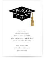 This is a brown graduation announcement invitation by Up Up Creative called peace out with standard printing on signature in standard.