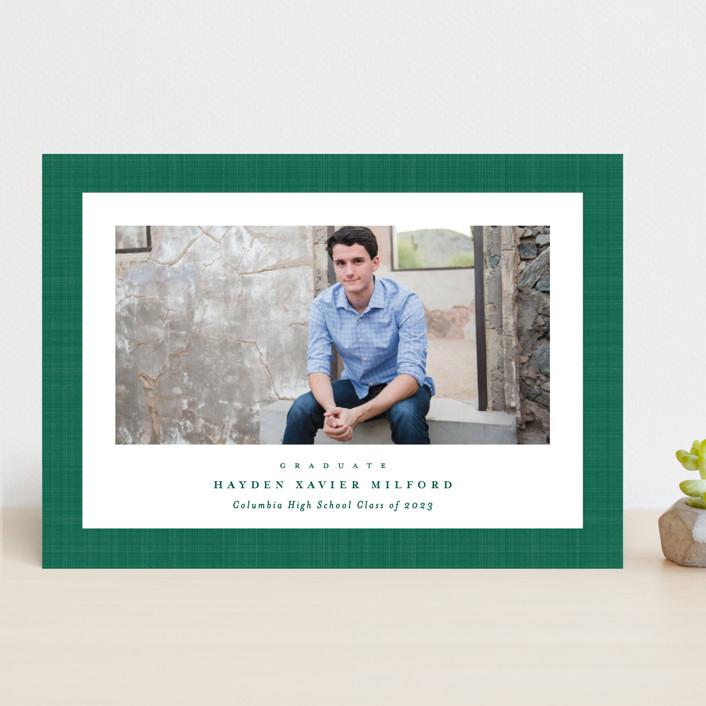 """Linen frame"" - Preppy Graduation Announcements in Shamrock by Lea Delaveris."