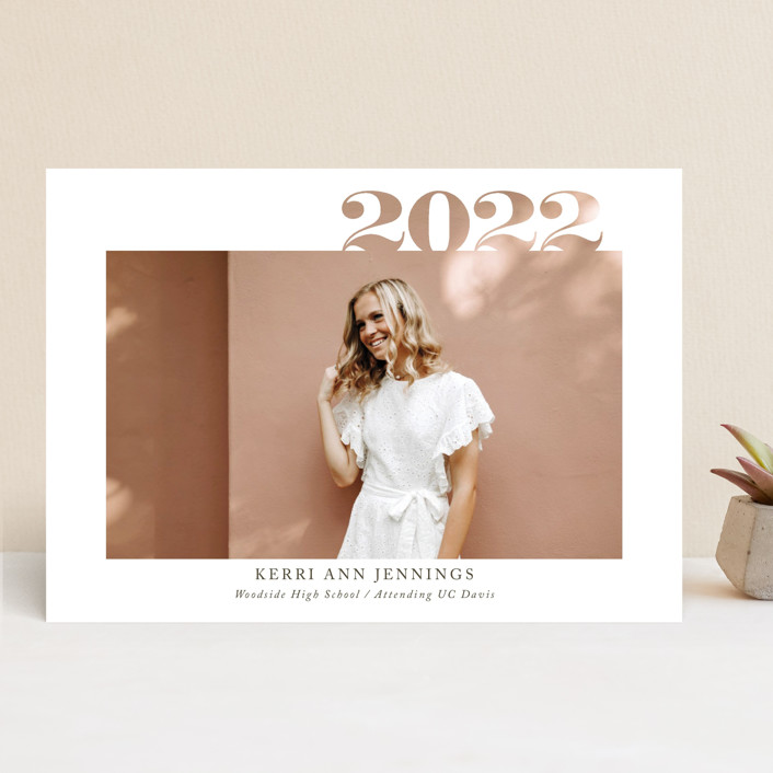 """2020 Cutout"" - Graduation Announcements in Ivory by Yaling Hou Suzuki."