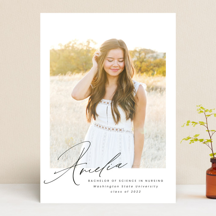 """""""Signed"""" - Modern Graduation Announcements in Crystal by Ink and Letter."""