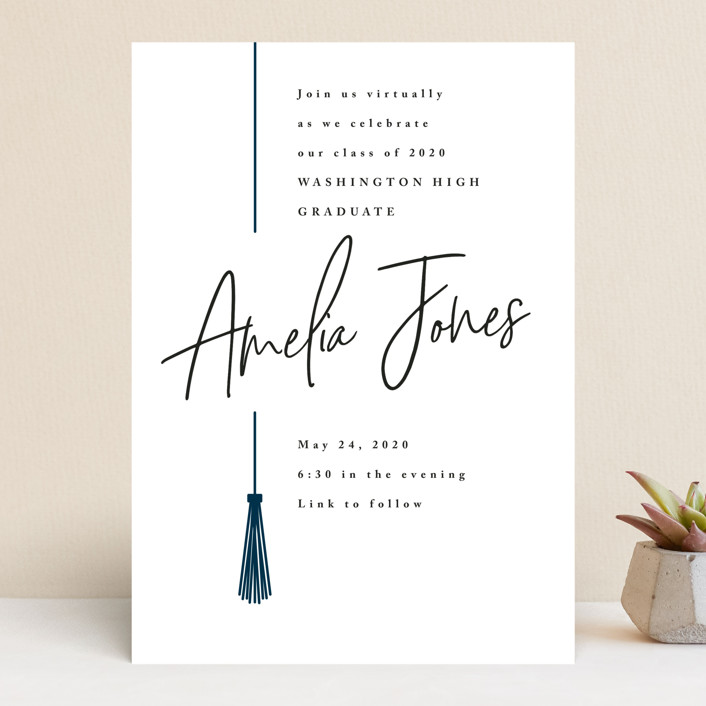 """""""Written Out Virtually"""" - Graduation Announcements in Navy by Owl and Toad."""