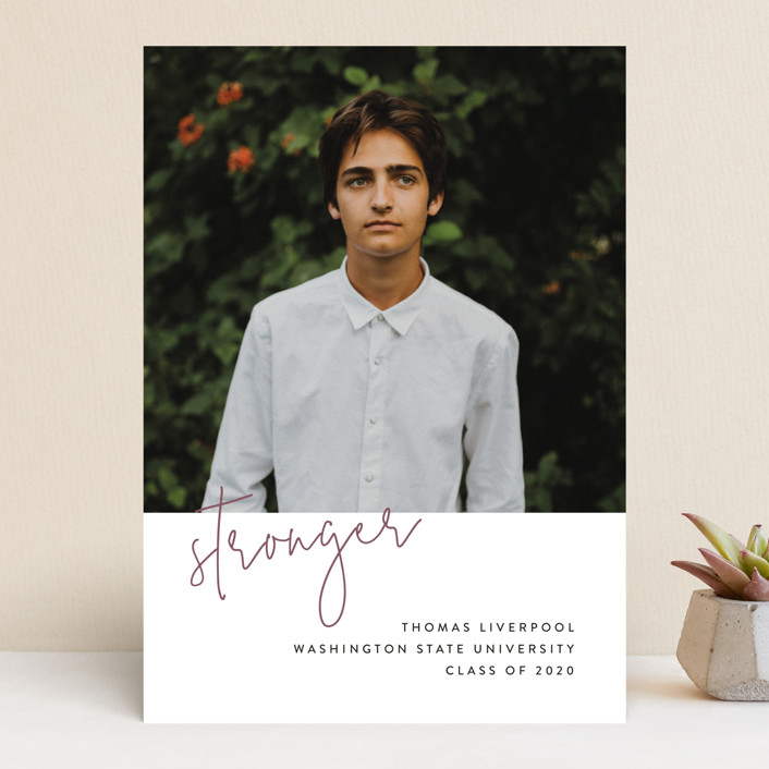 """Stronger"" - Graduation Announcements in Rosewood by Chryssi Tsoupanarias."