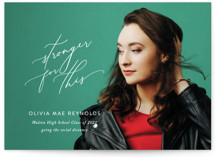 This is a white graduation announcement invitation by Jennifer Postorino called Stronger for This with standard printing on signature in standard.
