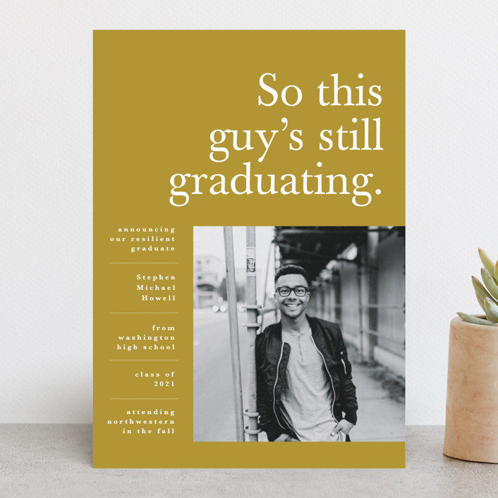 """Still Graduating"" - Funny, Modern Graduation Announcements in Mustard by Bonjour Berry."