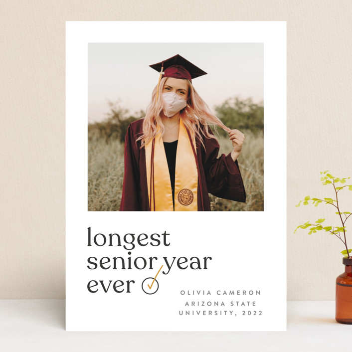 """longest ever"" - Funny, Modern Graduation Announcements in Mustard by JoAnn Jinks."