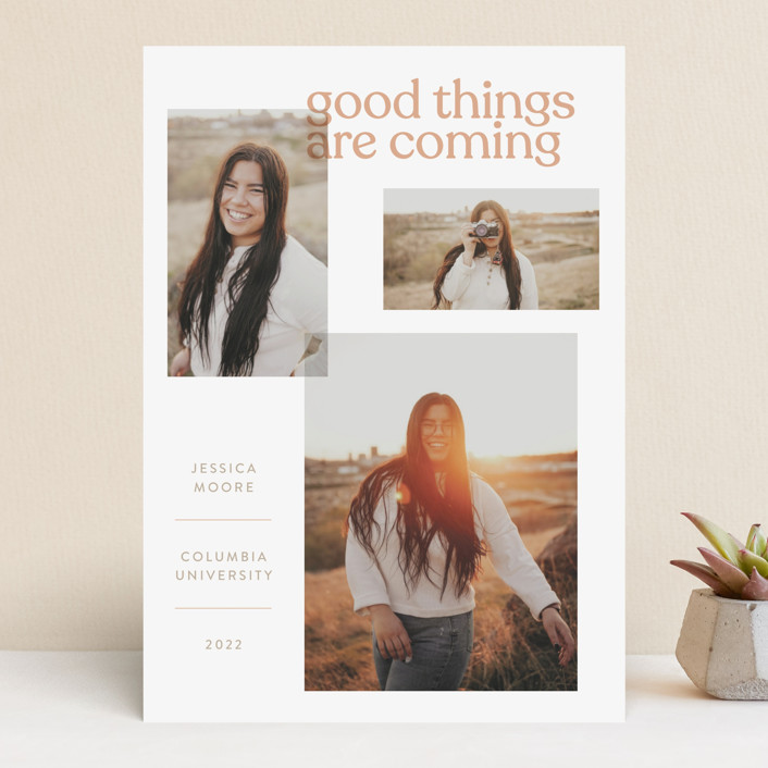 """""""Layered"""" - Funny, Modern Graduation Announcements in Peach by JoAnn Jinks."""