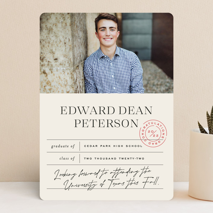 """""""Report Card"""" - Preppy, Modern Graduation Announcements in Vintage by Jessica Corliss."""