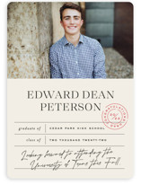 This is a beige graduation announcement invitation by Jessica Corliss called Report Card with standard printing on signature in standard.