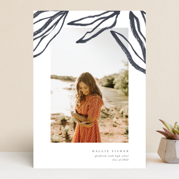 """""""Flow"""" - Modern Graduation Announcements in Midnight by Blustery August."""