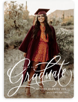 This is a white graduation announcement invitation by Erin German called Script Grad with standard printing on signature in standard.