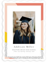 This is a pink graduation announcement invitation by Nicole Walsh called Bold Border with standard printing on signature in standard.