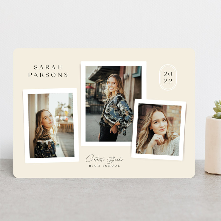 """""""commentary"""" - Modern, Preppy Graduation Announcements in Ivory by Jennifer Wick."""