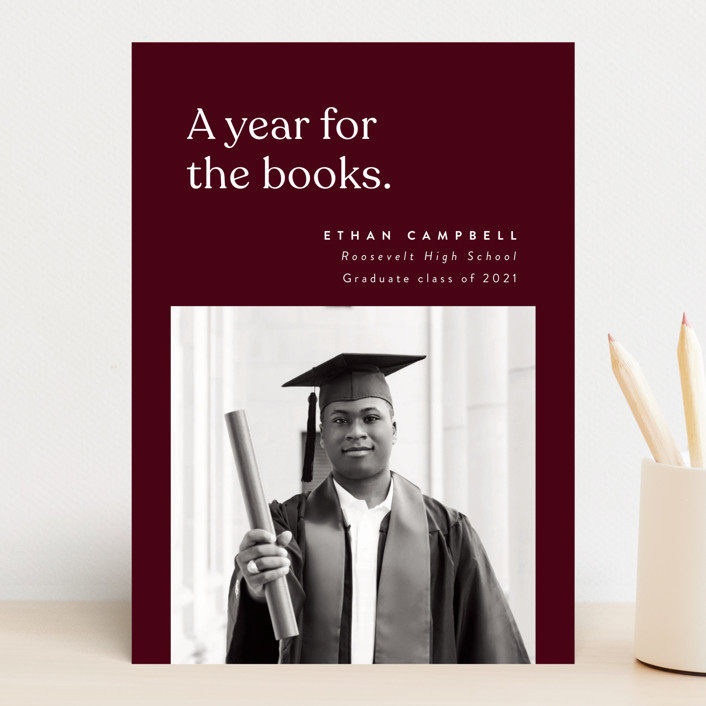 """""""For the Books"""" - Funny Graduation Announcements in Merlot by Corinne Malesic."""