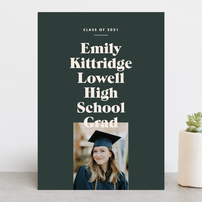 """Type Stack"" - Preppy, Modern Graduation Announcements in Spruce by Annie Clark."