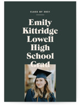 This is a green graduation announcement invitation by Annie Clark called Type Stack with standard printing on signature in standard.