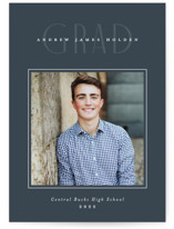 This is a grey graduation announcement invitation by Jennifer Wick called Fine Line with standard printing on signature in standard.