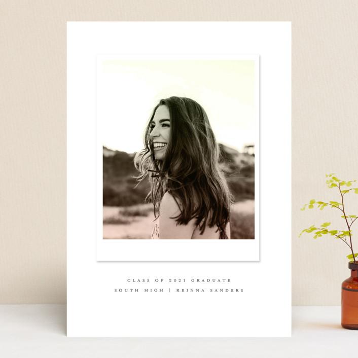 """Vintage Snapshot"" - Graduation Announcements in Sage by Grace Kreinbrink."