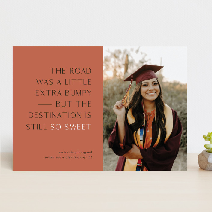 """Destination"" - Funny, Modern Graduation Announcements in Faded Rust by Up Up Creative."