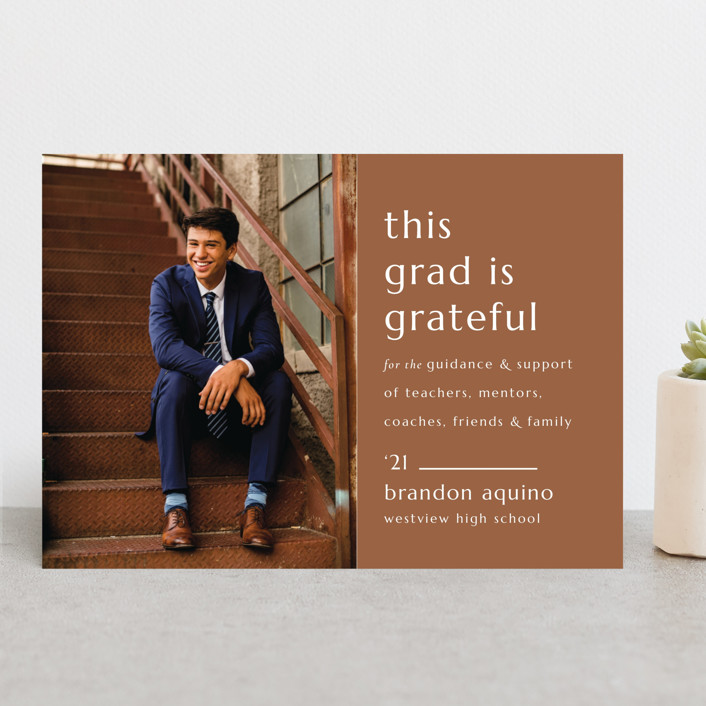 """""""Grateful Grad"""" - Modern, Preppy Graduation Announcements in Caramel by Griffinbell Paper Co.."""