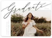 This is a black graduation announcement invitation by Kelly Schmidt called sidestep with standard printing on signature in standard.