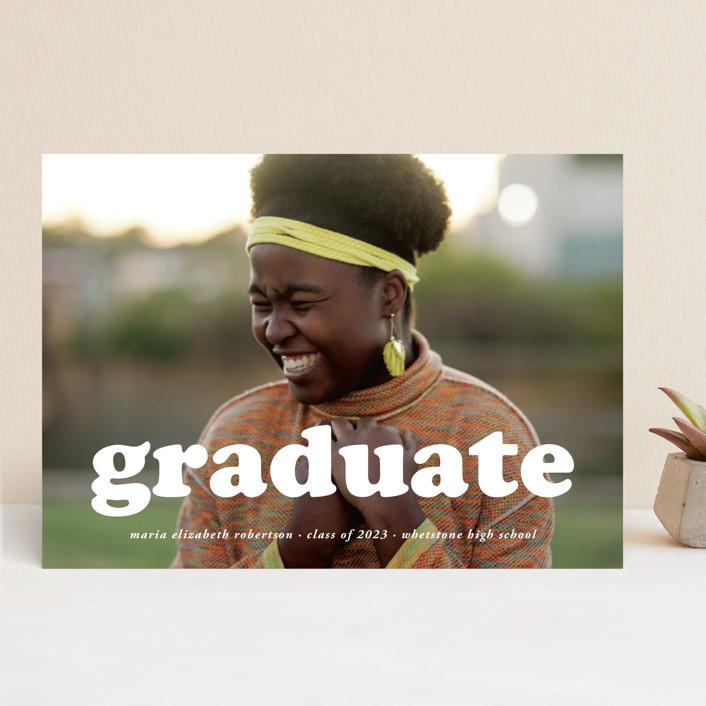 """""""Cooper"""" - Modern Graduation Announcements in Snow by Heather Schertzer."""