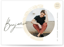 This is a white graduation announcement invitation by Oscar and Emma - Karly Depew called Mod Arc with standard printing on signature in standard.