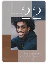 This is a blue graduation announcement invitation by Pixel and Hank called Building Blocks with standard printing on signature in standard.