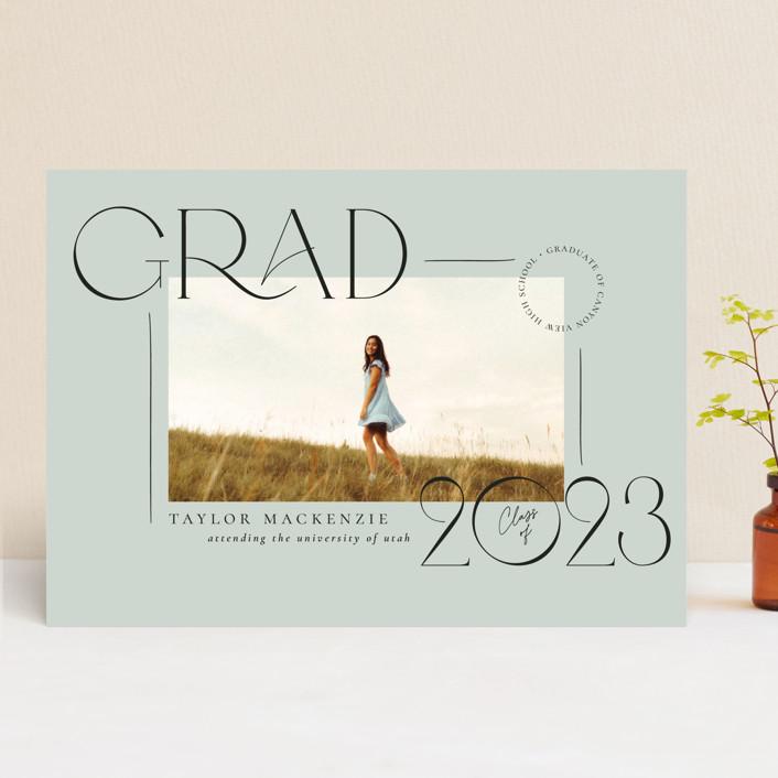 """Mod Grad"" - Modern Graduation Announcements in Mint by Wildfield Paper Co."